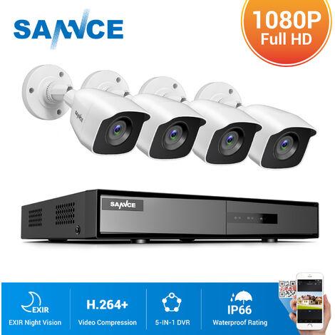 SANNCE video de vigilancia 4CH TVI DVR grabadora + 4 cámara HD 720P exterior visión nocturna de 20m