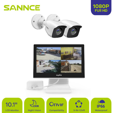 SANNCE video surveillance set 4CH 5-in-1 10.1 inch 1080N DVR With screen 2 x 1080P Weatherproof surveillance cameras, night vision Up to 30 meters For indoors and outdoors