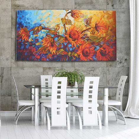 Sans cadre tournesol impression Art peinture à l'huile 120x60 cm décoration murale belle abstraite LAVENTE