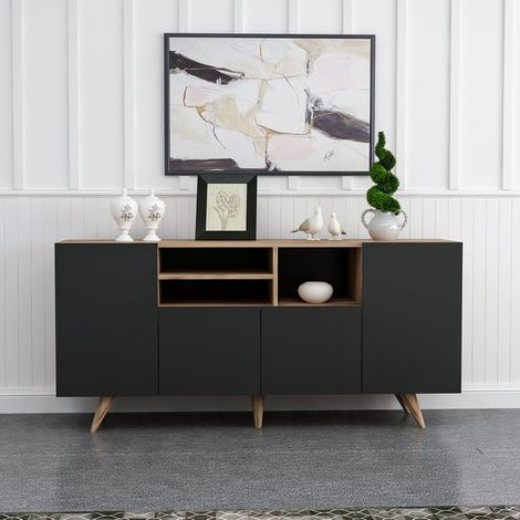 Sansa Mehrzweck-Mobil - mit Tueren, Regalen - von Lounge, Eingang, Raum - Nussbaum, Schwarz aus Holz, Kunststoff, 160 x 42 x 75 cm