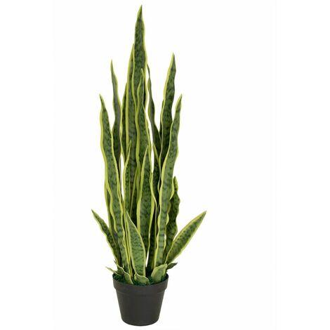 Sansevieria Plante Arbre Artificielle Plastique Pot 90cm Decovego