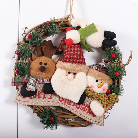 """main image of """"Santa Claus Doll Wreath Round Hanging Christmas Wreath Garland Decoration Mall Hotel Front Door Christmas Flowers Wreath Holiday Home Party Pendant"""""""