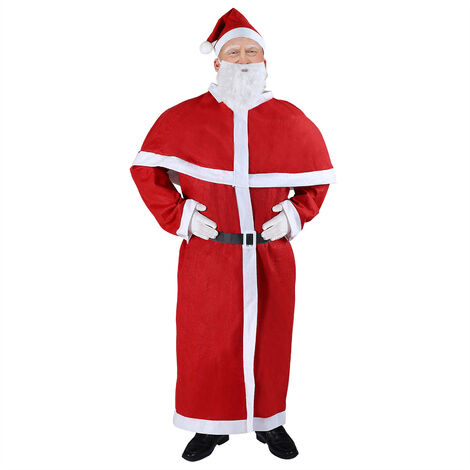 Santa Claus Suit Costume St Nick Adult One Size Standard Fancy Dress Coat Hat Beard Belt Men Father Christmas Traditional