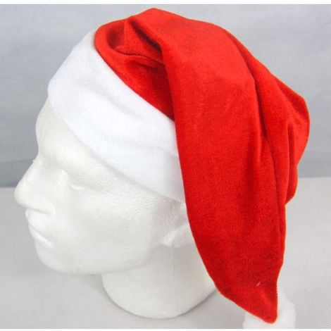 Santa Hat Velvet Cuff feat. Santa Face Christmas Party Red & White