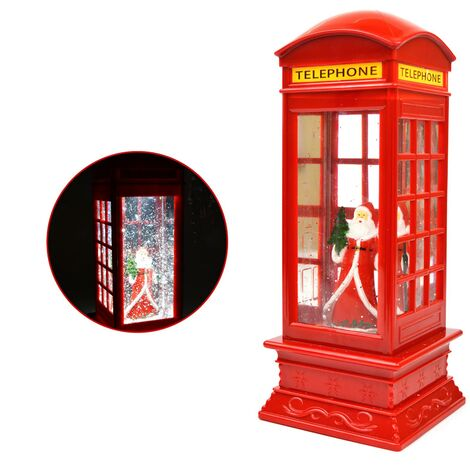 Santa LED Water Phone Box Snow Globe Christmas Decoration Battery Operated Red