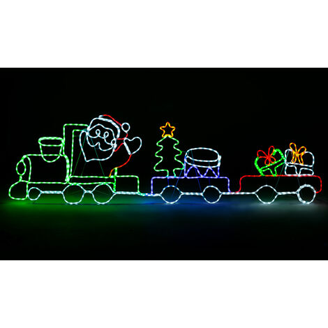 Santa Train Silhouette Rope Light Large LED Outdoor Christmas Decoration 2.58m