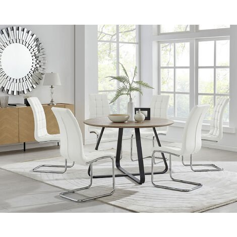 """main image of """"Santorini Brown Round Dining Table And 6 Murano Chairs"""""""