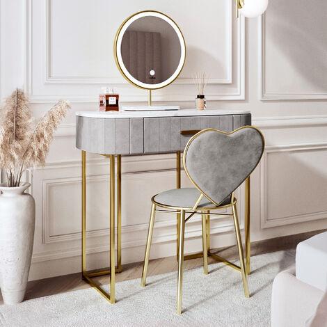 Santorini Dream Velvet Dressing Table with LED Touch Sensor Mirror in Dove Grey