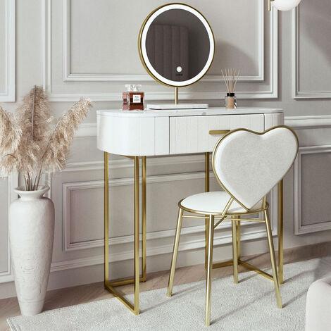 Santorini Dream Velvet Dressing Table with LED Touch Sensor Mirror in French Tip White