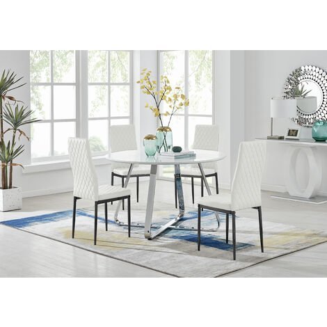 """main image of """"Santorini White Round Dining Table And 4 Milan Black Leg Chairs"""""""