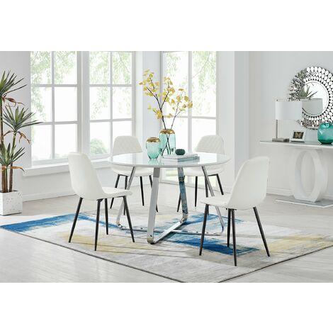 "main image of ""Santorini White Round Table  & 4 Corona Black Leg Chairs"""