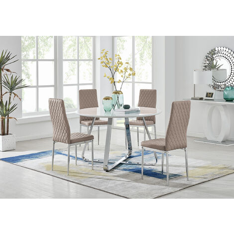 """main image of """"Santorini White Wood Contemporary Round Dining Table And 4 Milan Chairs"""""""