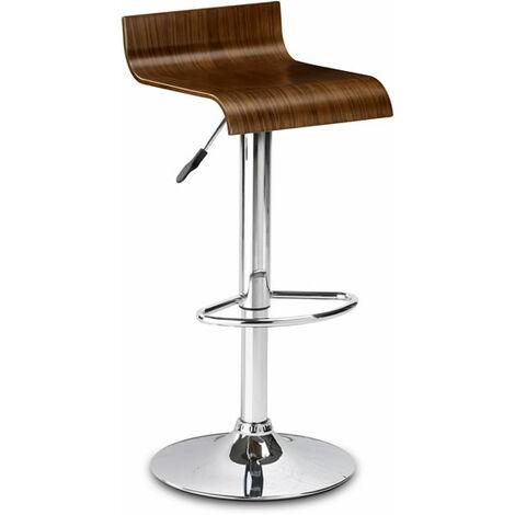 Santos Adjustable & Swivel Chrome Bar Stool Walnut Veneer Seat