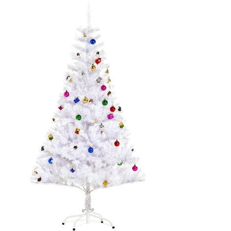 Sapin arbre de Noël artificiel blanc 150 cm 680 branches avec nombreux accessoires variés