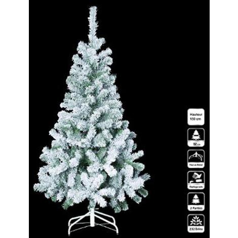 Sapin artificiel de noël floqué en PVC et métal - Dim : L.150 x l.84 x H.92 cm -PEGANE-