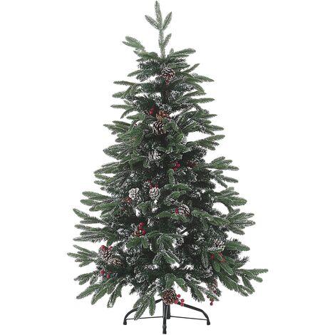 Sapin de Noël artificiel avec branches givrées, pommes de pin et baies de houx