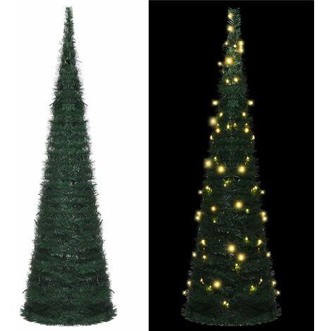 Sapin de Noël artificiel avec guirlandes et LED Vert 150 cm