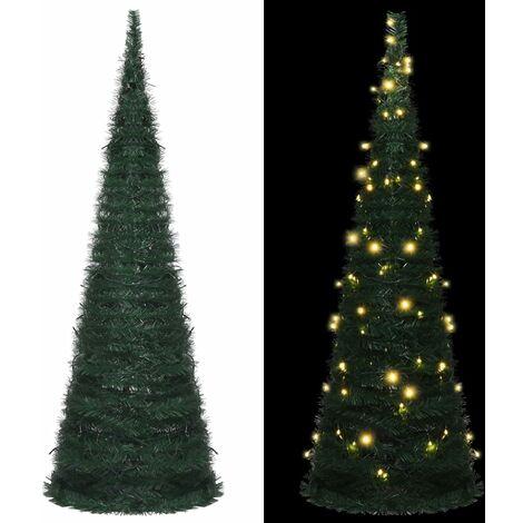 Sapin de Noël artificiel avec guirlandes et LED Vert 180 cm