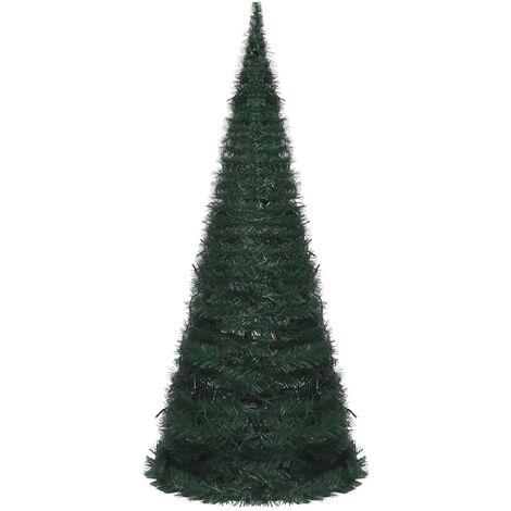Sapin de Noël artificiel avec guirlandes et LED Vert 210 cm