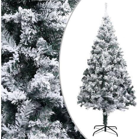 Sapin de Noël artificiel avec neige floquée Vert 210 cm PVC