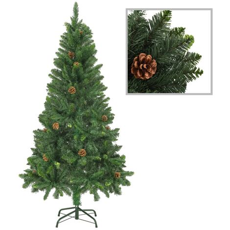 Sapin de Noël artificiel avec pommes de pin Vert 150 cm
