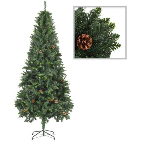 Sapin de Noël artificiel avec pommes de pin Vert 210 cm