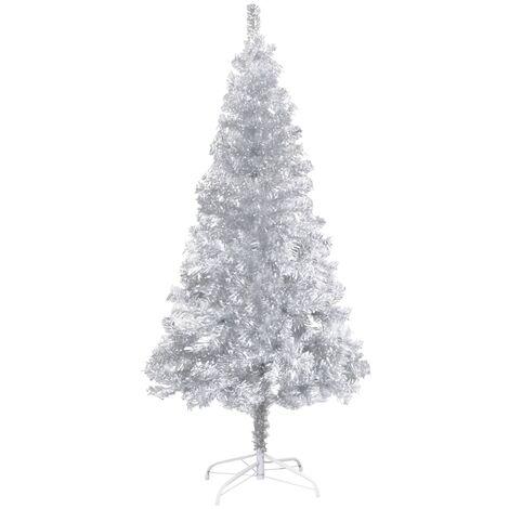 Sapin de Noël artificiel avec support Argenté 180 cm PET
