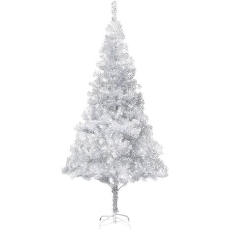 Sapin de Noël artificiel avec support Argenté 210 cm PET
