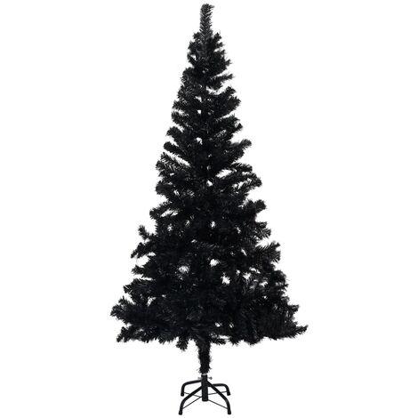 Sapin de Noël artificiel avec support Noir 210 cm PVC