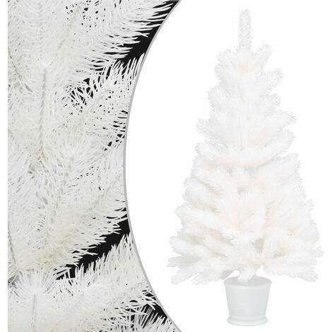 Sapin de Noël artificiel avec un pot Blanc 90 cm PE