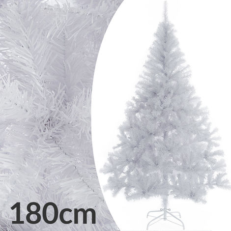 Sapin de Noël artificiel blanc 180 cm Décoration fête Arbre de noël 533 branches