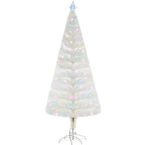 Sapin de Noël artificiel blanc sapin lumineux fibre optique + 220 LED couleurs RVB 7 modes support pied inclus Ø 80 x 180H cm 220 branches étoile sommet brillante