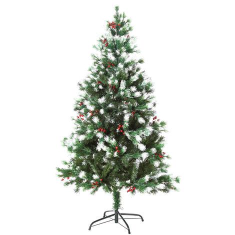 Sapin de Noël artificiel branches enneigées Ø 75 x 150H cm 554 branches épines imitation Nordmann grand réalisme 41 houx