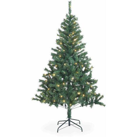 Sapin de Noël artificiel de 180 cm avec guirlande lumineuse et pied inclus