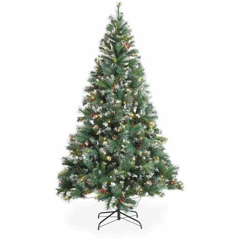 Sapin de Noël artificiel Deluxe de 210 cm avec guirlande lumineuse, décorations et pied inclus