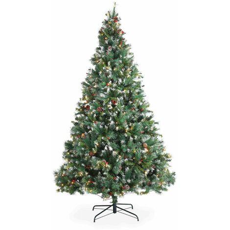 Sapin de Noël artificiel Deluxe de 240 cm avec guirlande lumineuse, décorations et pied inclus