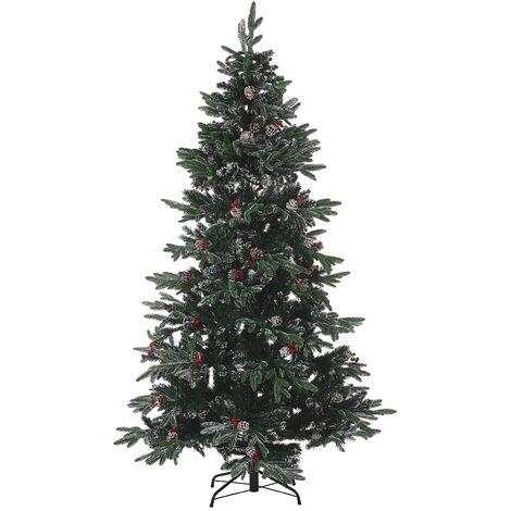 Sapin de Noël artificiel effet givré avec décorations 180 cm vert DENALI