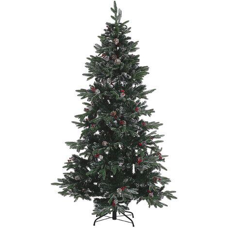 Sapin de Noël artificiel effet givré avec décorations 210 cm vert DENALI