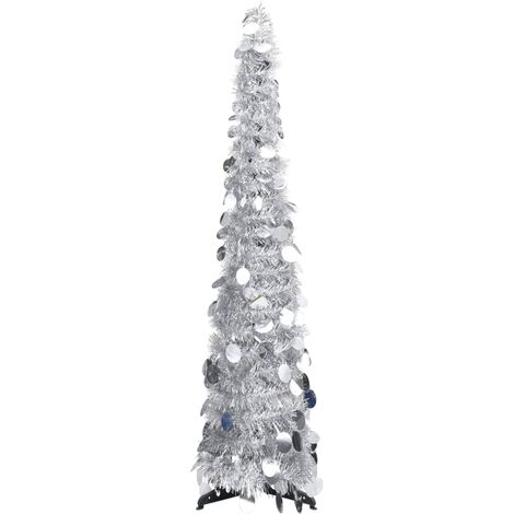 Sapin de Noël artificiel escamotable Argenté 120 cm PET