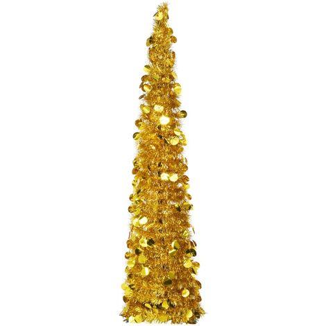 Sapin de Noël artificiel escamotable Doré 150 cm PET