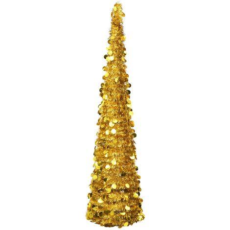 Sapin de Noël artificiel escamotable Doré 180 cm PET