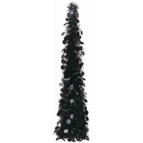 Sapin de Noël artificiel escamotable Noir 120 cm PET