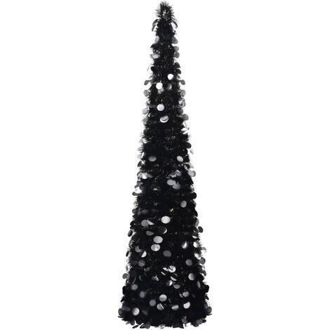 Sapin de Noël artificiel escamotable Noir 150 cm PET