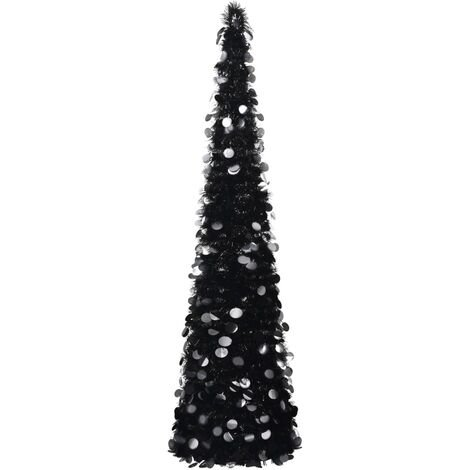 Sapin de Noël artificiel escamotable Noir 180 cm PET