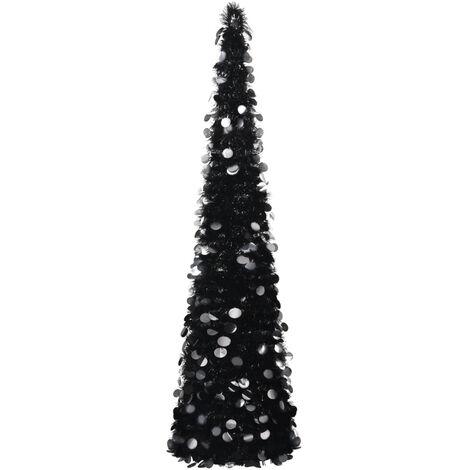 Sapin de Noel artificiel escamotable Noir 180 cm PET