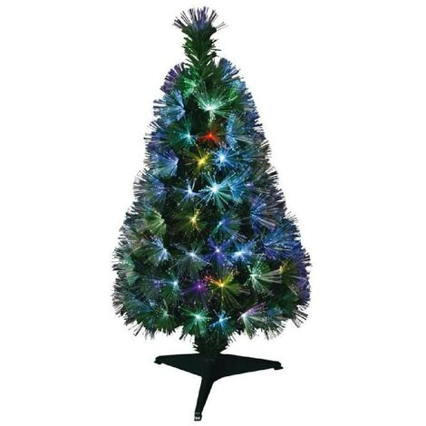 Sapin de Noël artificiel Fibre optique New York - 125 LED - 125 branches - 120 cm Generique