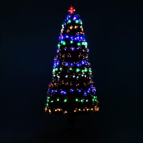 Sapin de Noël artificiel lumineux fibre optique + 220 LED 6 couleurs 2 modes support pied inclus Ø 80 x 180H cm 220 branches étoile sommet brillante vert
