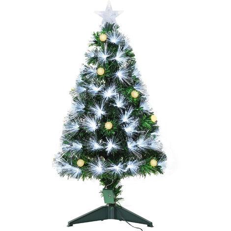 Sapin de Noël artificiel lumineux fibre optique LED + 14 ampoules + support pied Ø 48 x 90H cm 90 branches étoile sommet brillante vert