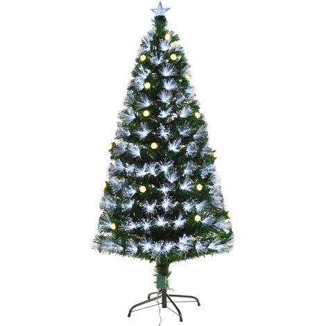 Sapin de Noël artificiel lumineux fibre optique LED + 20 ampoules + support pied Ø 63 x 120H cm 130 branches étoile sommet brillante vert