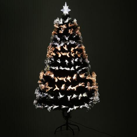 Sapin de Noël artificiel lumineux fibre optique LED 3 couleurs + support pied Ø 70 x 150H cm 170 branches étoile sommet brillante vert